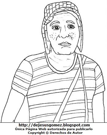 Dibujo del Chavo del Ocho para colorear pintar imprimir recortar y pegar. Dibujo del Chavo del Ocho de Jesus Gómez