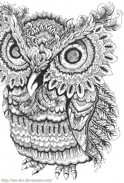Beautiful Coloring Pages For Adults  Love How This Owl Looks Grumpy