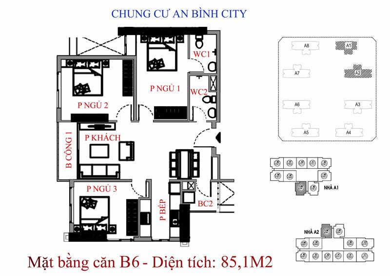 Mặt bằng A8 An Bình City - CĐT Geleximco