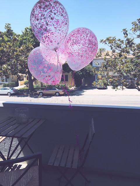 Pink balloons on Santa Monica patio