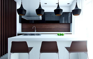 Compact modern kitchen with eat in island
