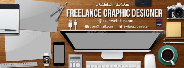 Graphic Designer Workspace Timeline Cover