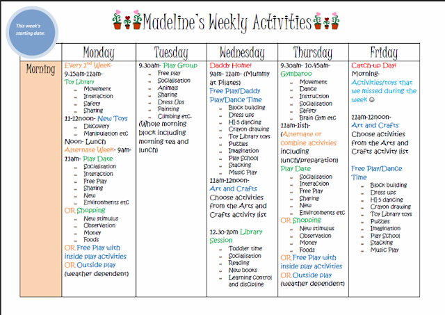 Learn with play at home weekly kids activity planner for Kids weekly schedule template