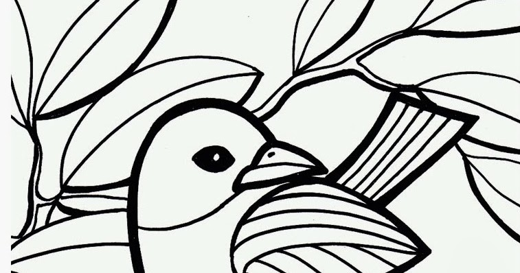 Coloring Page World: Bird on Branch