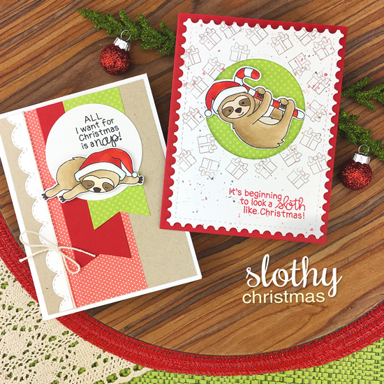 Sloth Christmas Cards by Jennifer Jackson | Slothy Christmas Stamp set by Newton's Nook Designs #newtonsnook #handmade