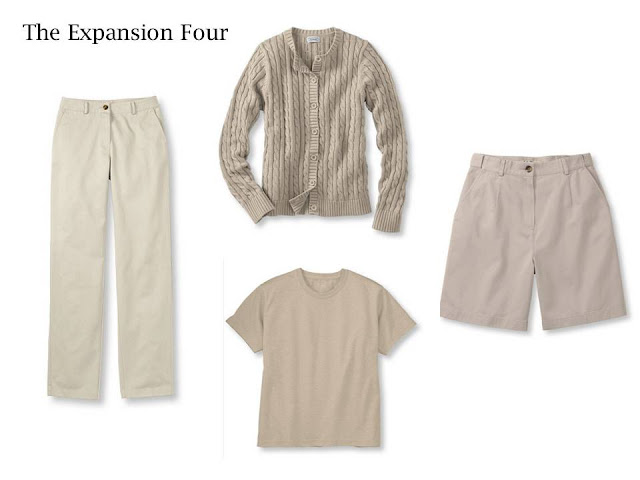 4 pieces of beige clothing, that give you 6 outfits