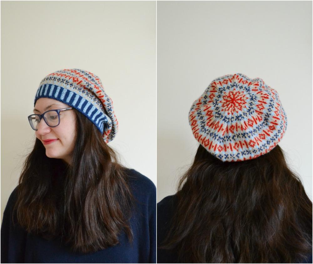 knitted thrift hat shetland wool week beret colourwork finished