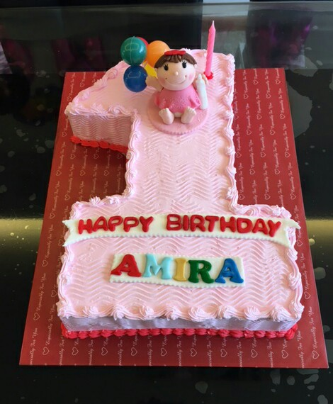 Izahs Kitchen 1st Birthday cake for Amira 1st Birthday for Girl