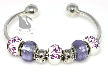 Add A Bead Purple Charm Bangle Bracelet (B209-P)