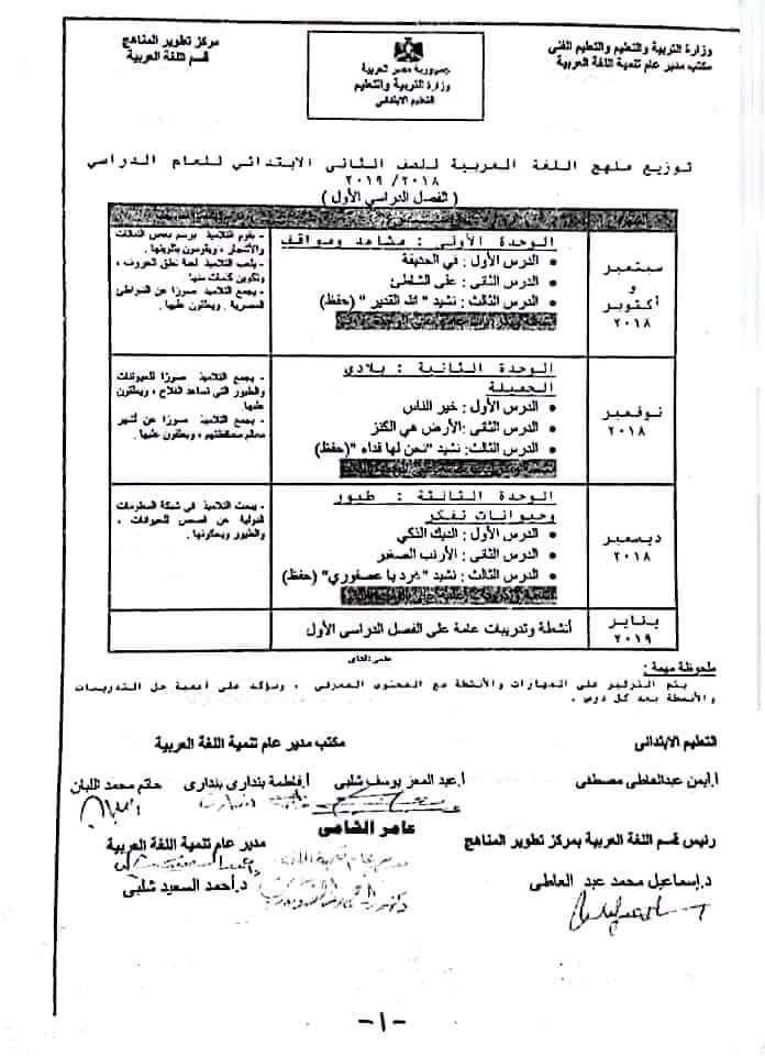 جدول توزيع اللغة العربية للمرحلة الابتدائية نسخ الوزارة (جميع الصفوف )الفصل الدراسى الاول والثانى 2019