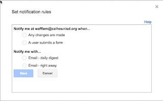 set notification rules window