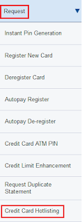 HDFC Credit Card Hotlisting
