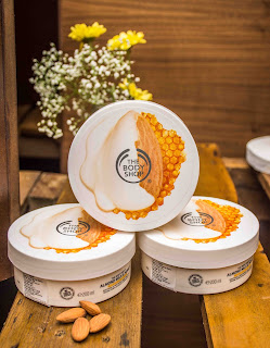 Products from The Body Shop's Almond Milk and Honey collection designed to nourish, soothe and restore sensitive skin