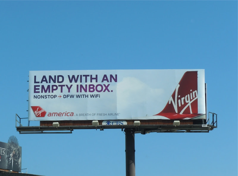 Virgin America Empty Inbox billboard
