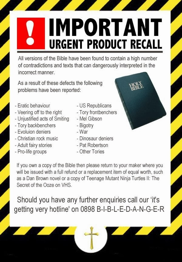Funny Important Bible Product Recall Notice