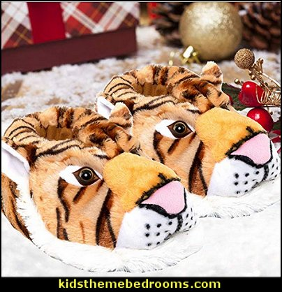 tiger Animal Slippers  Pajamas - fun pajamas - family pajamas - sleepwear - fun slippers - novelty socks - cute socks - Girls Pajamas - Boys Pajamas - Christmas pajamas - fun boxers - animal shape slippers - cute novelty slippers - Holiday clothing - holiday traditions - Christmas socks - Mommy & Me pajamas - Christmas gifts - birthday gifts -