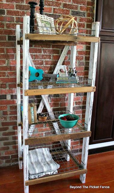 farmhouse shelf, industrial, rustic, organization, storage, DIY, wire baskets, http://goo.gl/CQsXQJ