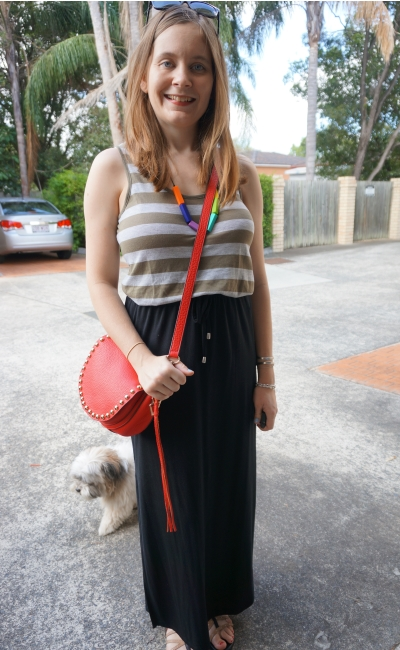 olive green and red together black drawstring waist maxi skirt cross body bag | Away From Blue