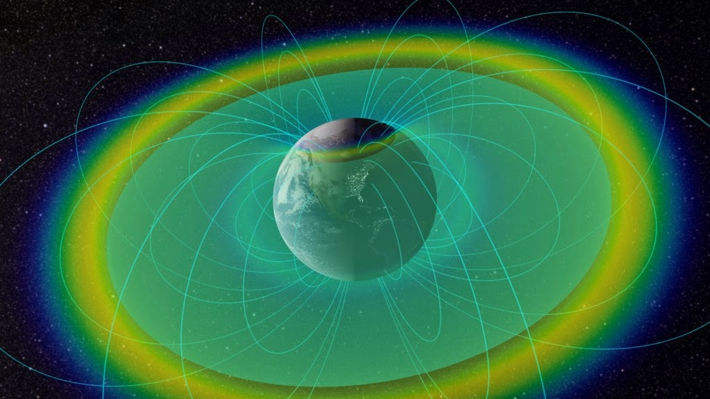 Earth surrounded by plasmapause (blue-green surface) and radiation belts (multi-color). Image Credit: NASA/Goddard/Scientific Visualization Studio