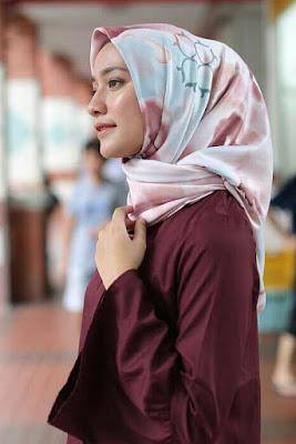 jilbab satin segi 4 murah