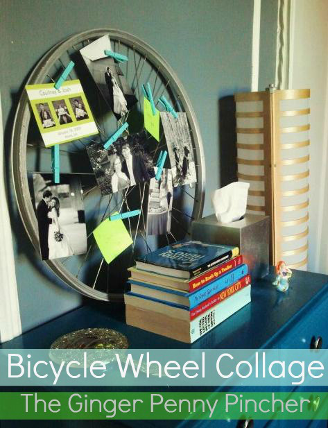 This DIY bicycle wheel collage is a great project to add fun family touch to your home