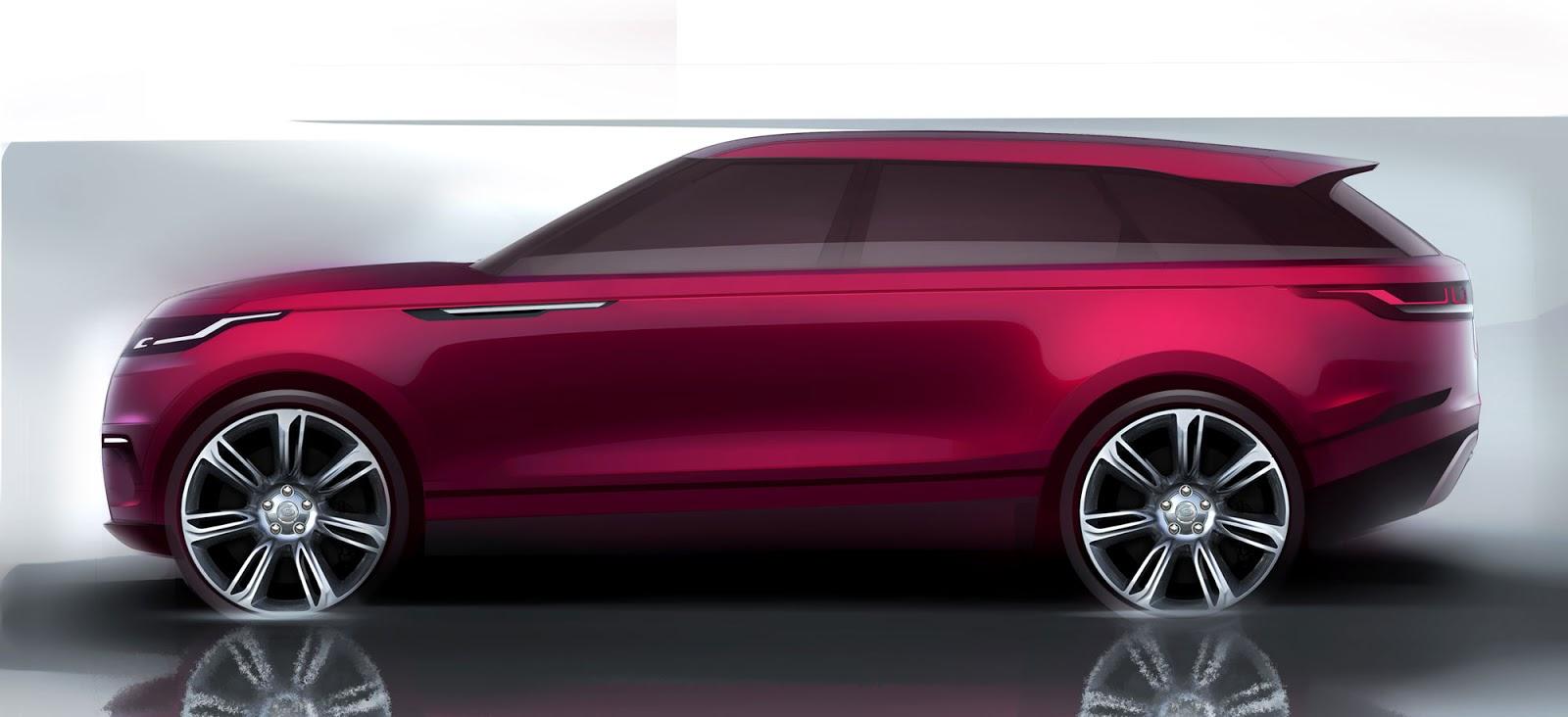 Range Rover Velar sketch side view in fuscia