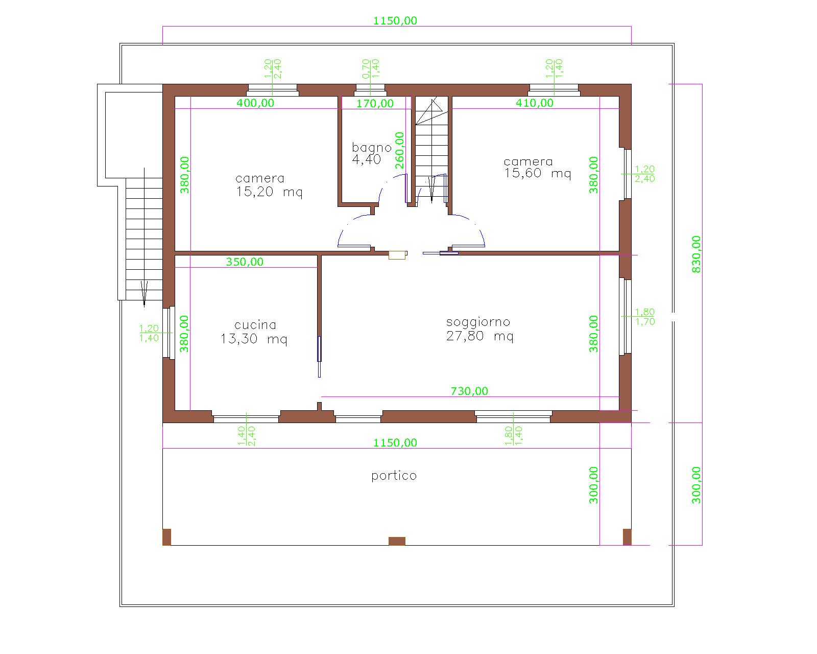 Progetti di case in legno: CASA 95 MQ + PORTICO 35 MQ