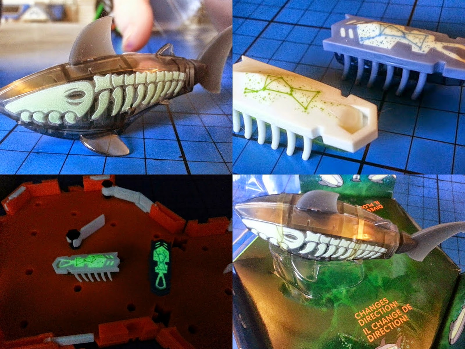Hexbug Nano and Aquabot glow in the dark collage