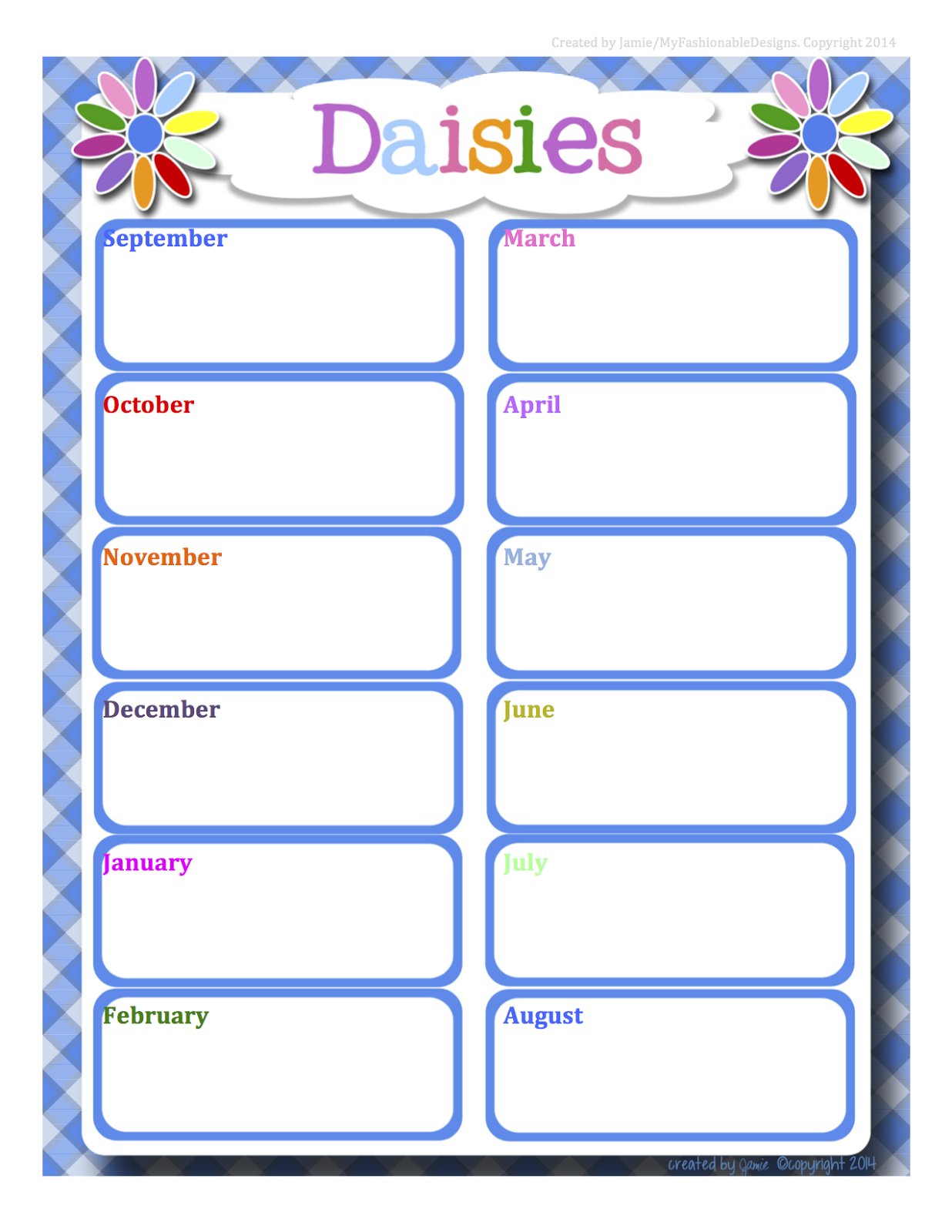 My Fashionable Designs Girl Scouts Daisies Calendar