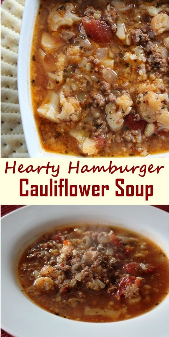 Hearty Hamburger Cauliflower Soup