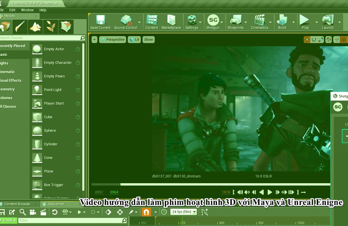 Video hướng dẫn làm phim hoạt hình 3D với Maya và Unreal Enigne