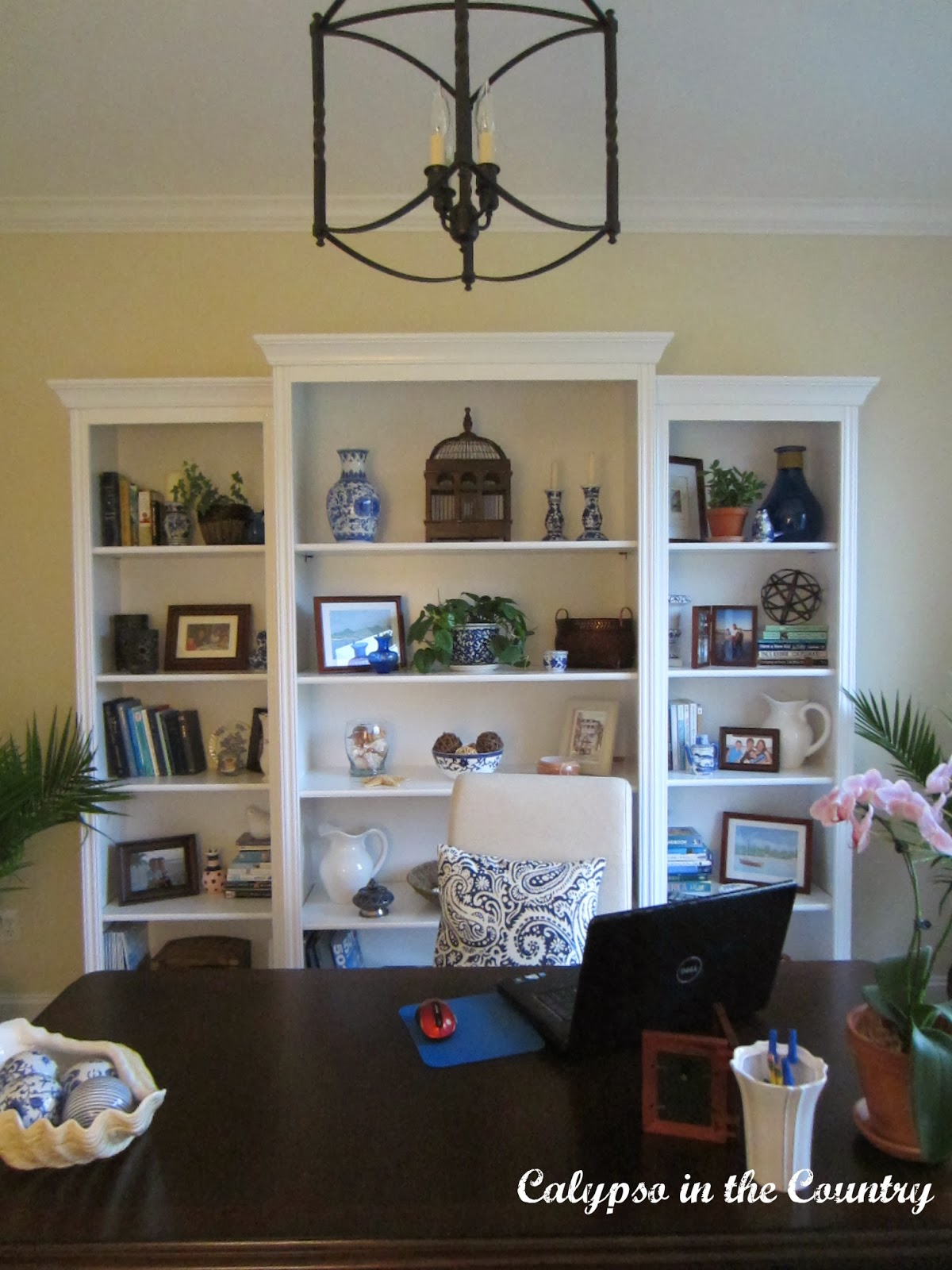 Home Office with White Bookcases - Reveal