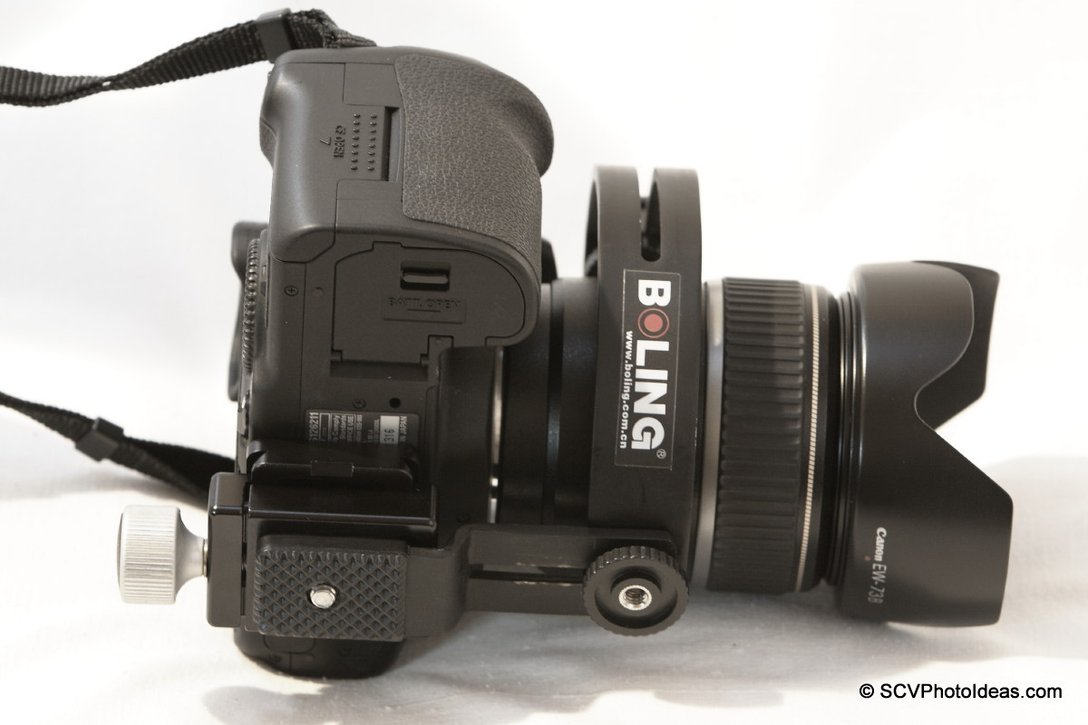 Boling C-Shape Flash Bracket w/ clamp mount on EOS 50D - bottom