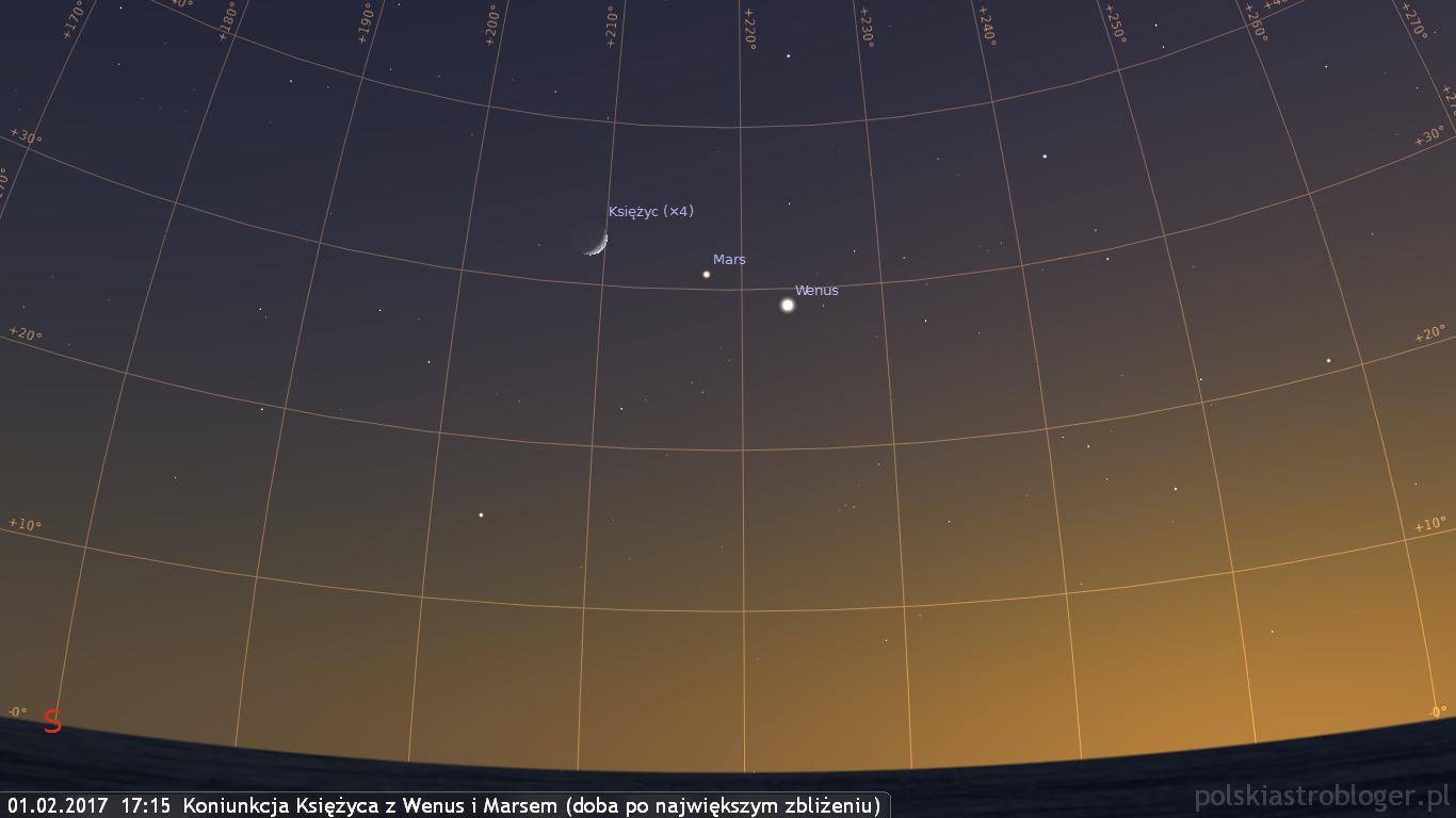 01.02.2017  17:15  Koniunkcja Księżyca z Wenus i Marsem - doba po największym zbliżeniu