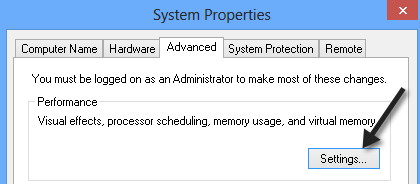 Adjust for Best Performance windows 8 step 2