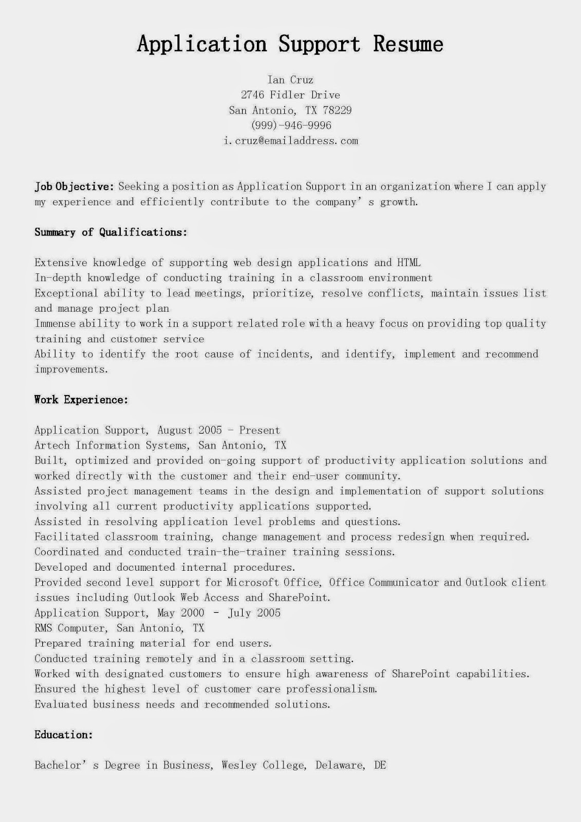 resume samples  application support resume sample