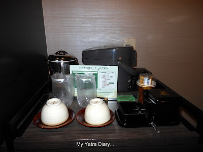 Complete tea making kit at New Miyako hotel in Kyoto - Japan