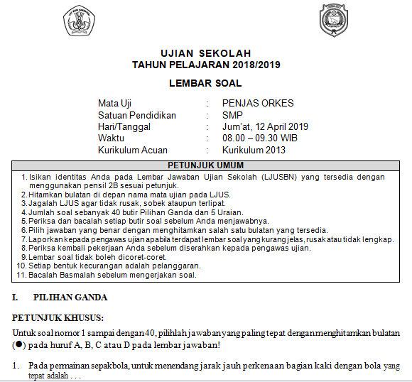 Soal Dan Kunci Jawaban Usbn Smp Penjas Orkes Kurikulum 2013 Tahun Pelajaran 2018 2019 Didno76 Com