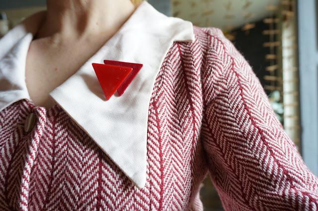 vintage plastic brooch triangle