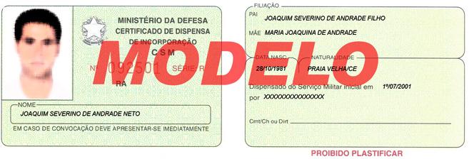 Modelo de certificado de reservista