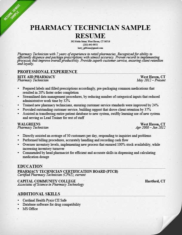 Pharmacy Technician Sample Resume