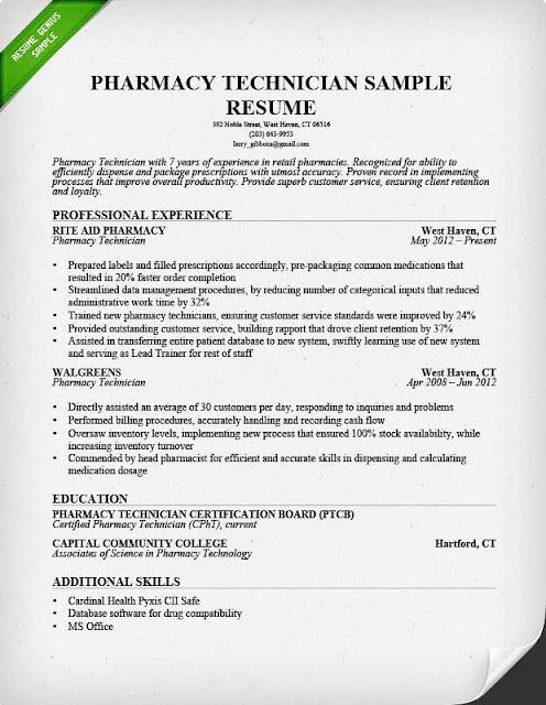 pharmacy technician skills resume