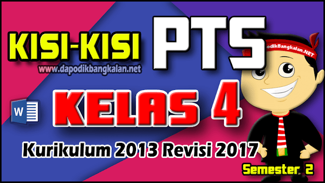 Kisi-kisi PTS Kelas 4 K13 Revisi 2017