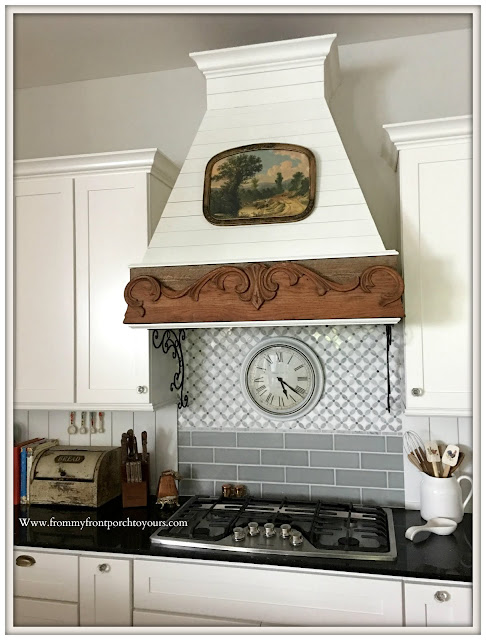diy farmhouse kitchen updates-range hood-tile backsplash-tongue and groove-from my front porch to yours