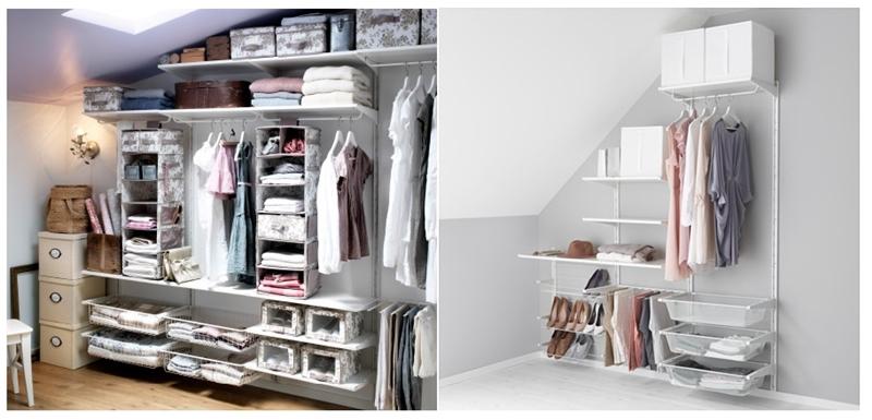 mała garderoba, garderoba w sypialni, system ALGOT ikea