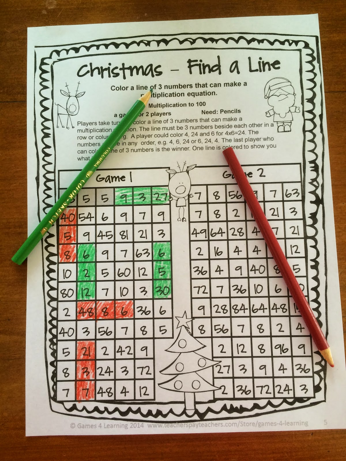 Fun Games 4 Learning No Prep Christmas Math Freebies