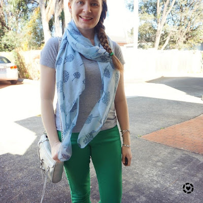 awayfromtheblue instagram grey tee green skinny jeans blue tree print scarf rebecca minkoff mini mac