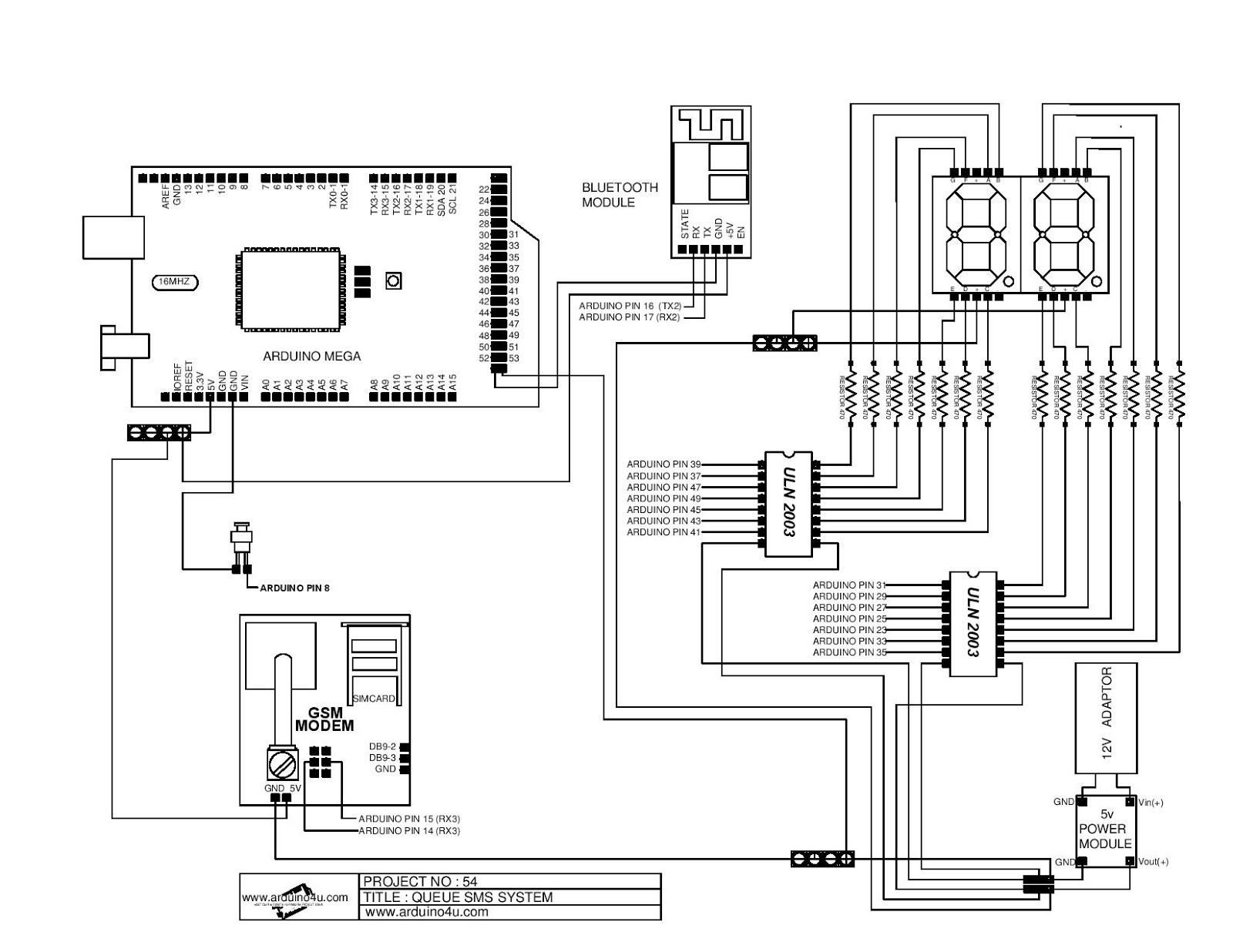 Projek Elektronik Arduino4u 54s Queue System