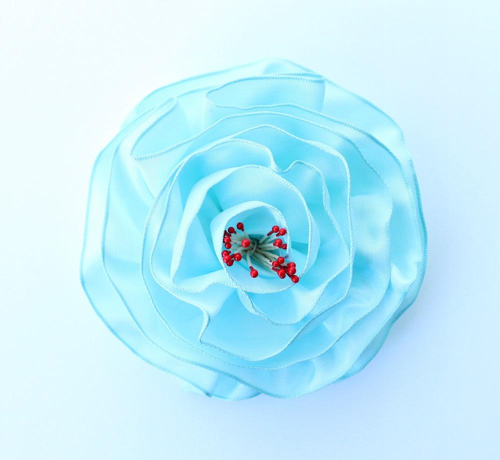 Turquoise DIY ribbon rose