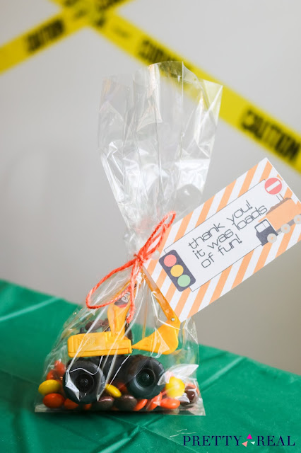 mini CAT truck party favors with construction party free printable tag
